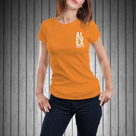 T-Shirt-Donna-Manica-Corta-Arancione-AL-EX